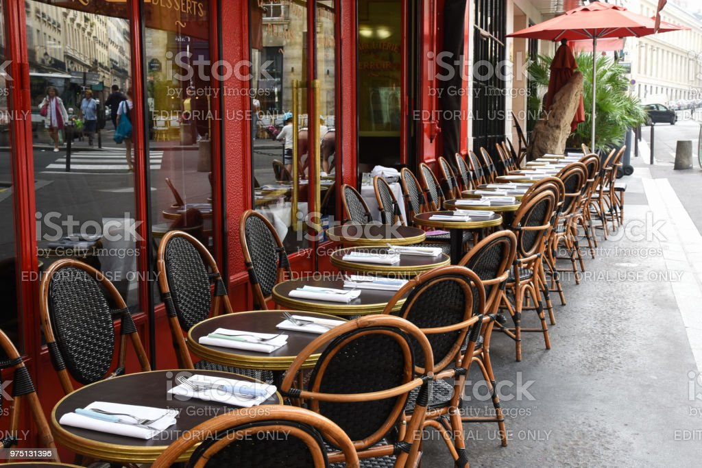 Paris sidewalk cafe in red stock photo