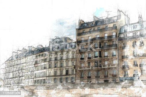 Sketch of Parisian buildings overlooking the Seine