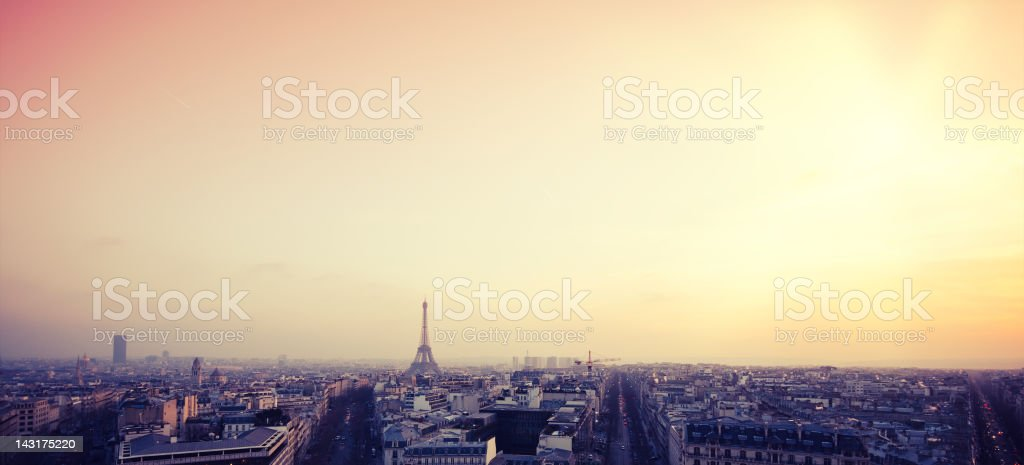 Paris skyline and Tour Eiffel at sunset royalty-free stock photo