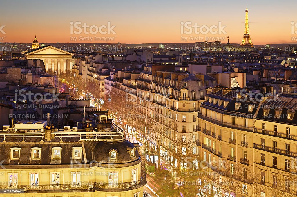 Paris Skyline at Sunset royalty-free stock photo