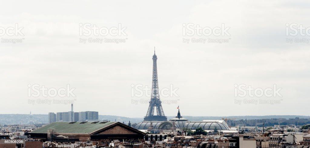 Paris Skyline - Eiffel Tower And Grand Palais stock photo