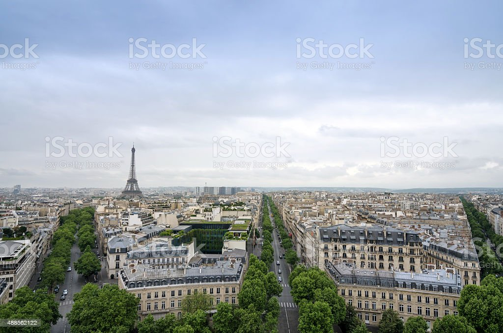 Paris skyline view from the Arc de Triomphe in Paris stock photo