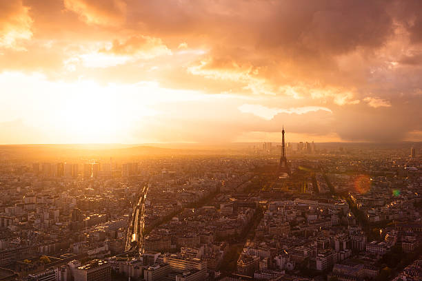 Paris skyline with Eiffel Tower stock photo
