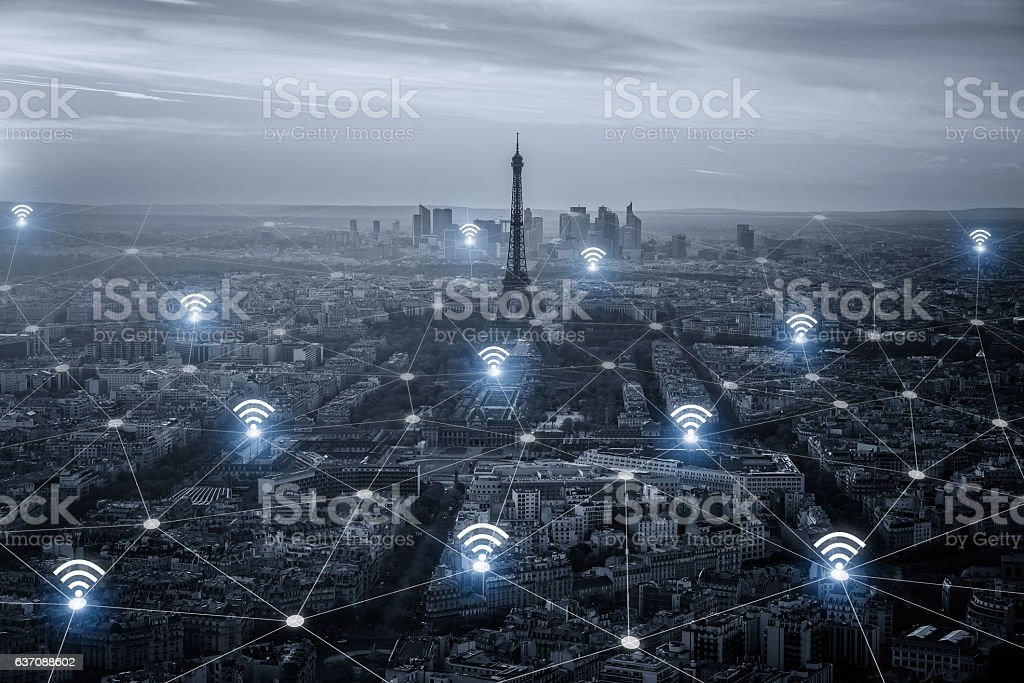 Paris smart city scape and network connection concept, wireless stock photo