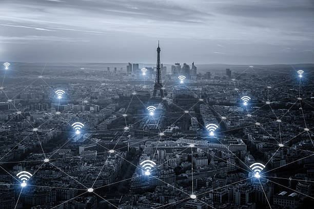 paris smart city scape and network connection concept, wireless - wave icon stock photos and pictures