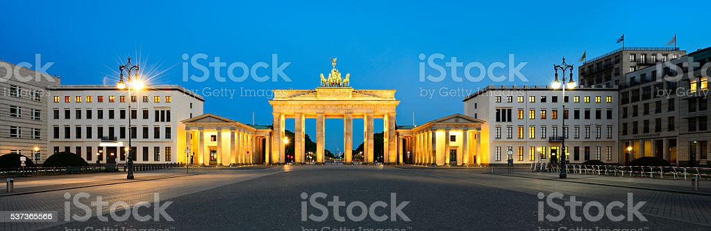 Paris Square with Brandenburg Gate at Night, Panorama, Berlin, Germany stock photo
