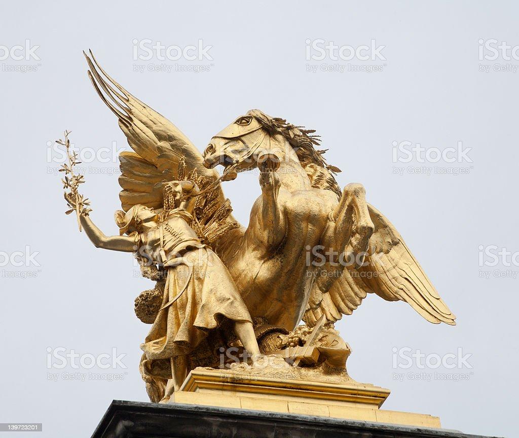 Paris - Statues of Alexander III bridge stock photo