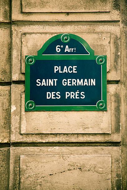 paris st-germain-des-prés street - straßenschild stock-fotos und bilder