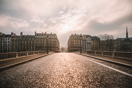 Paris street at sunset