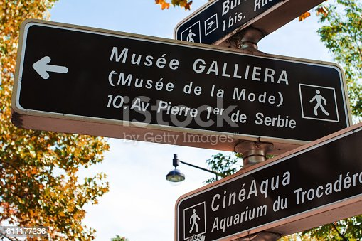 istock Paris Street directions and signs to galliera museum 611177236