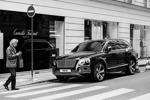 Paris street fashion auto stock photo