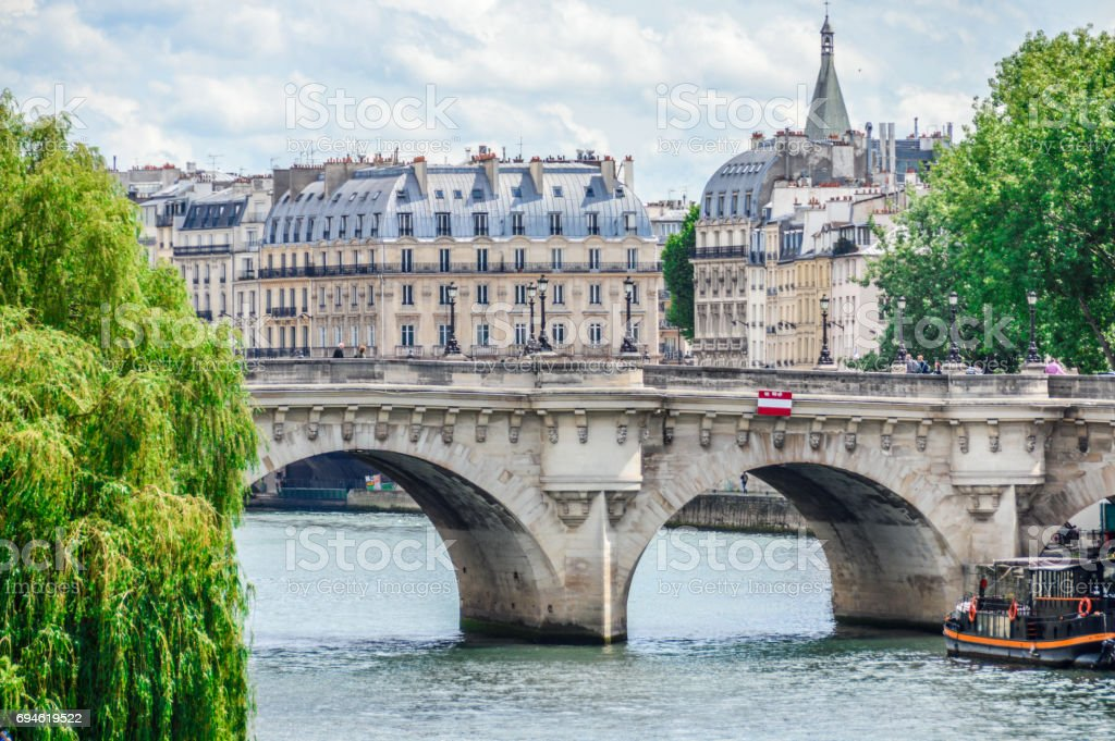 Paris street scene and architecture along the Seine River stock photo