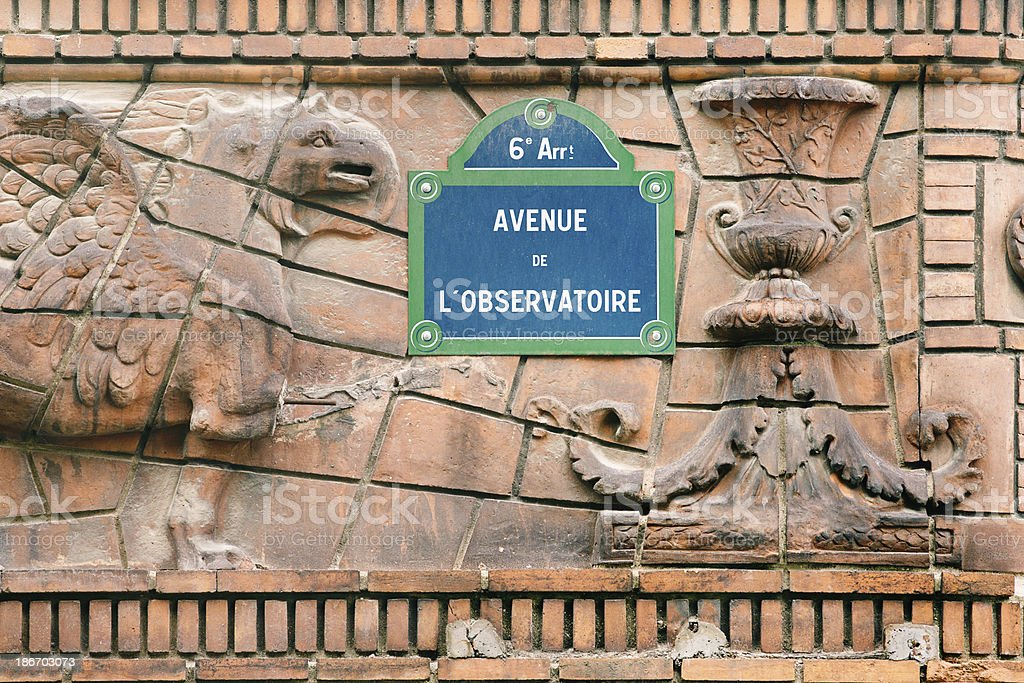 Paris street sign on sculpted wall royalty-free stock photo