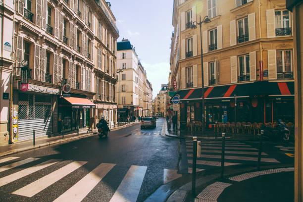paris street view - rue blanche - walking home sunset street bildbanksfoton och bilder