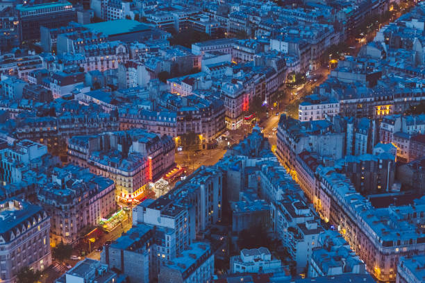 Paris streets at evening Above view of Paris cityscape ile de france stock pictures, royalty-free photos & images