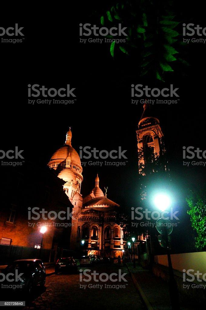 Sacre Ceure basilica surroundings by night