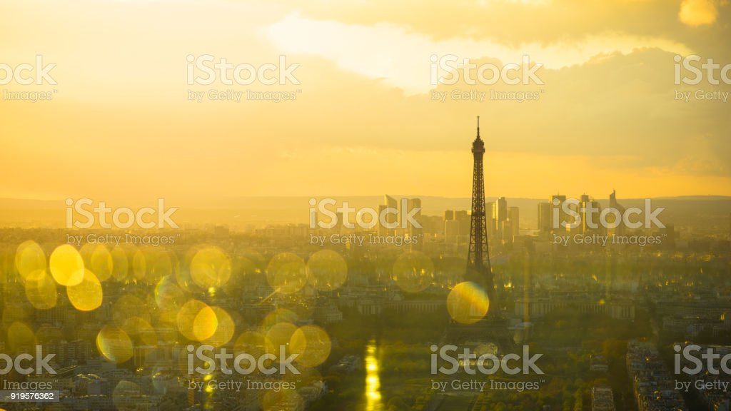 Paris Sunset Eiffel Tower and La Defense stock photo