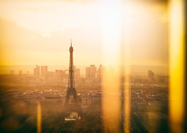Paris Sunset Elevated View of Eiffel Tower and La Defense stock photo