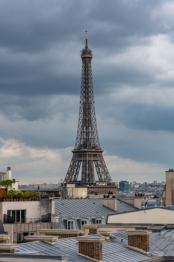 Paris, the Eiffel Tower, beautiful monument, and typical roofs