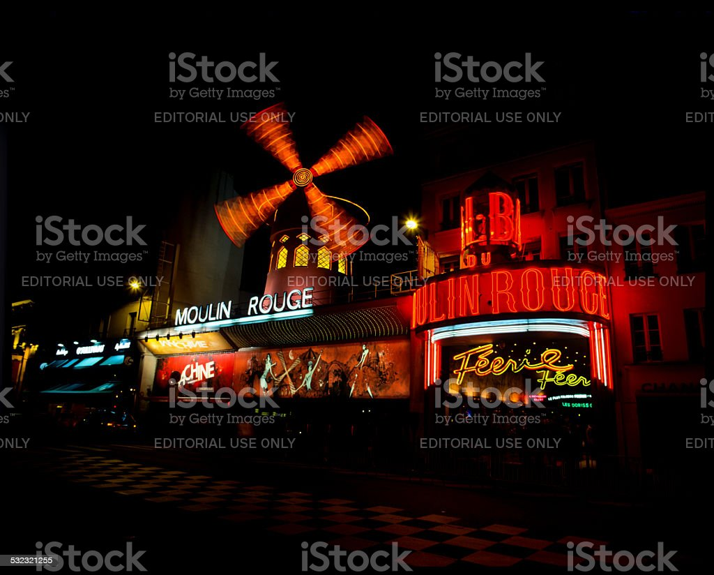 Paris - Le Moulin Rouge by night stock photo