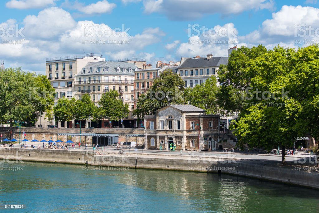 Paris, the Seine quai des Celestins stock photo