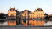 Sunset on Senate building in Paris, in Jardin du Luxembourg.