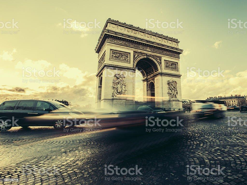 Paris Traffic at Arc de Triomphe royalty-free stock photo