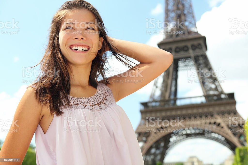 Paris travel woman tourist at Eiffel tower royalty-free stock photo