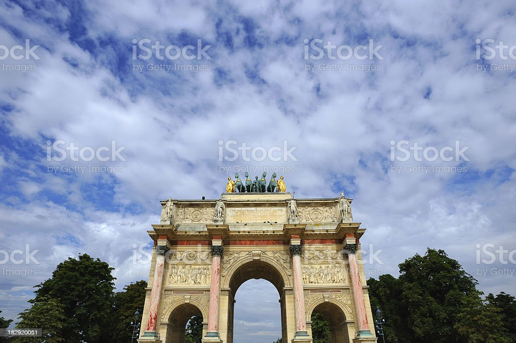 Paris Triumphal Arch Arc de Triomphe du Carrousel  Front Bottom stock photo