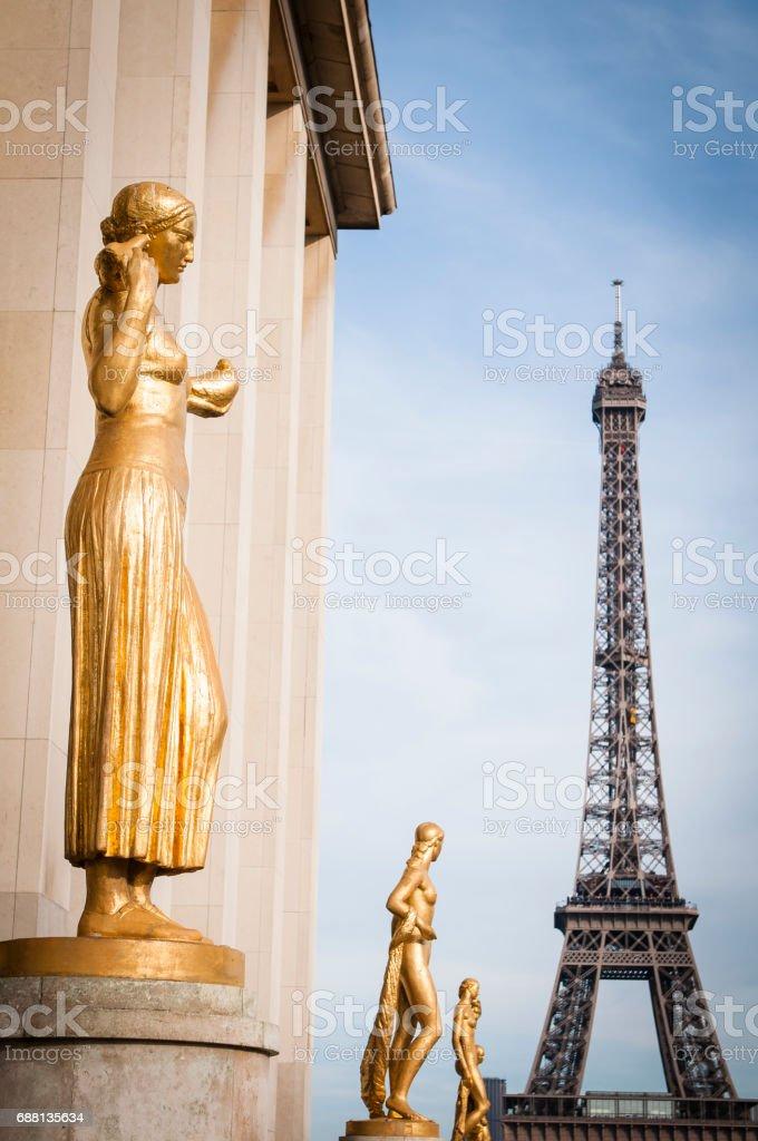 Paris Trocadero and Eiffel Tower stock photo