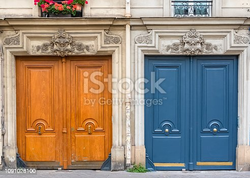istock Paris, two wooden doors 1091028100
