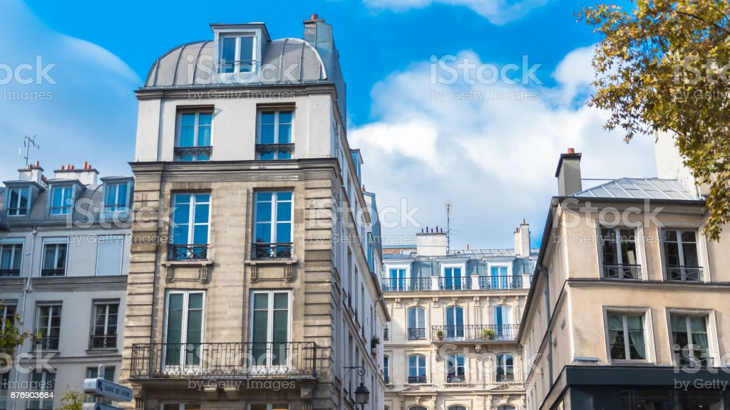Paris, typical facades in the center stock photo