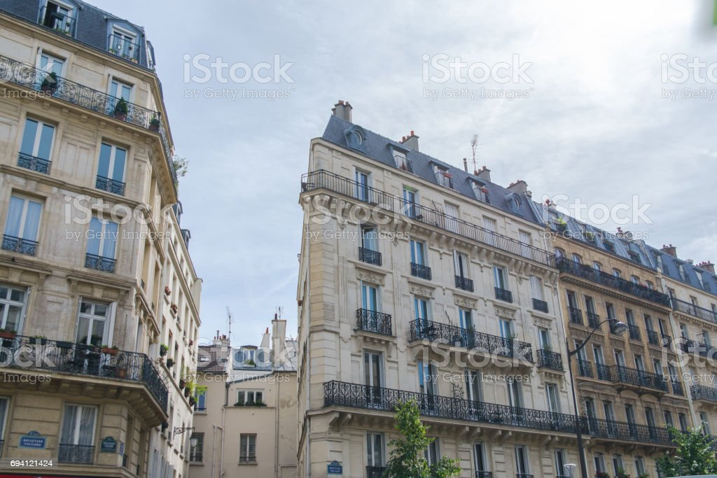 Paris, typical facades stock photo