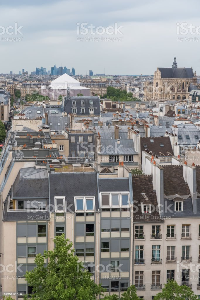 Paris, typical roofs and buildings stock photo