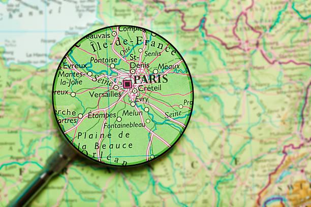 Paris under loupe Paris, France map.Source: