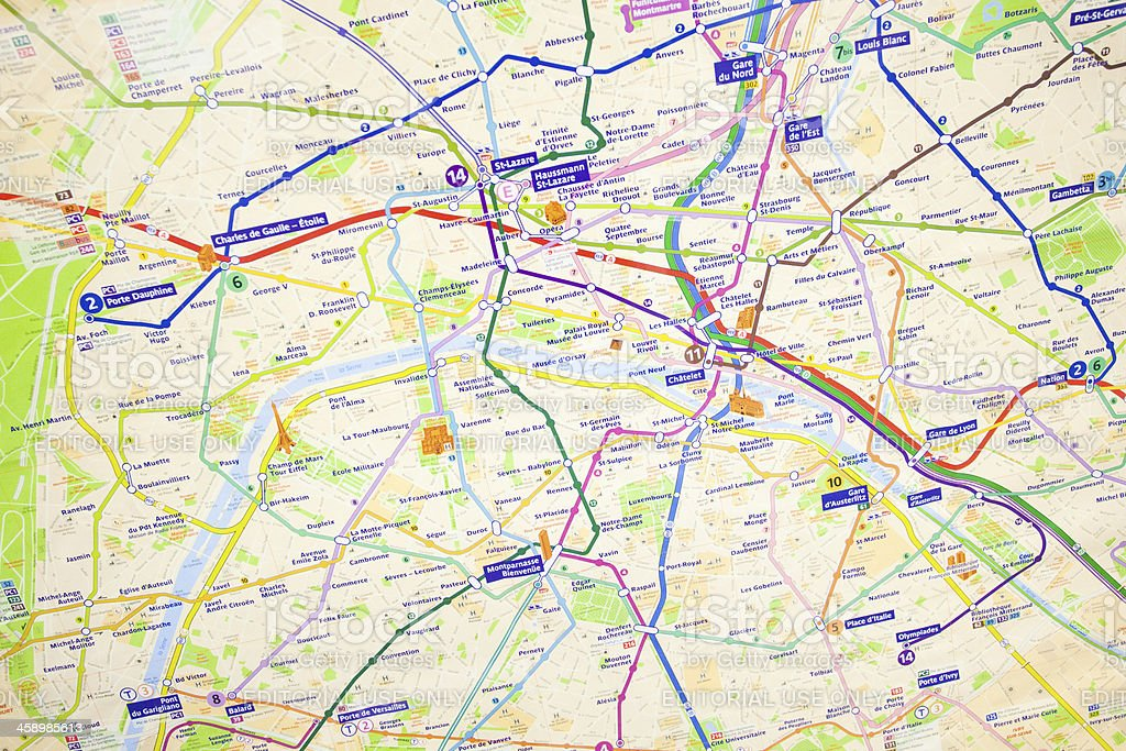 Paris Underground Tube Map royalty-free stock photo