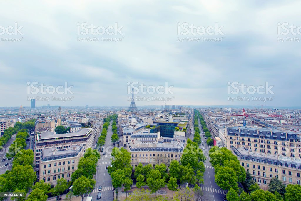 Paris, view at Champs-Elysees and Eiffel tower, France stock photo