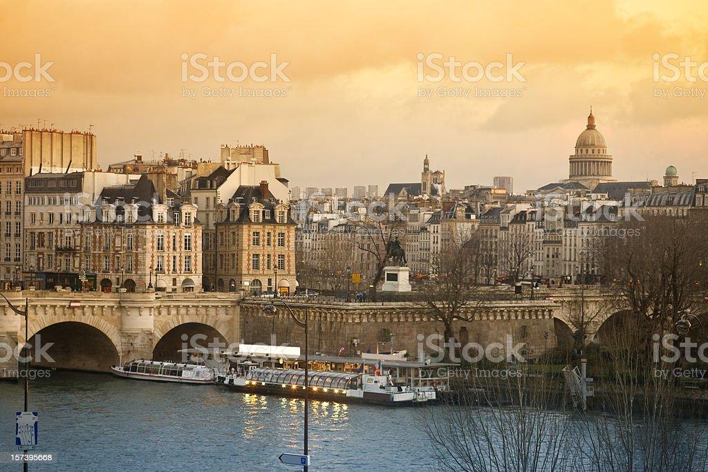 Paris View Pont Neuf and Latin Quarter royalty-free stock photo