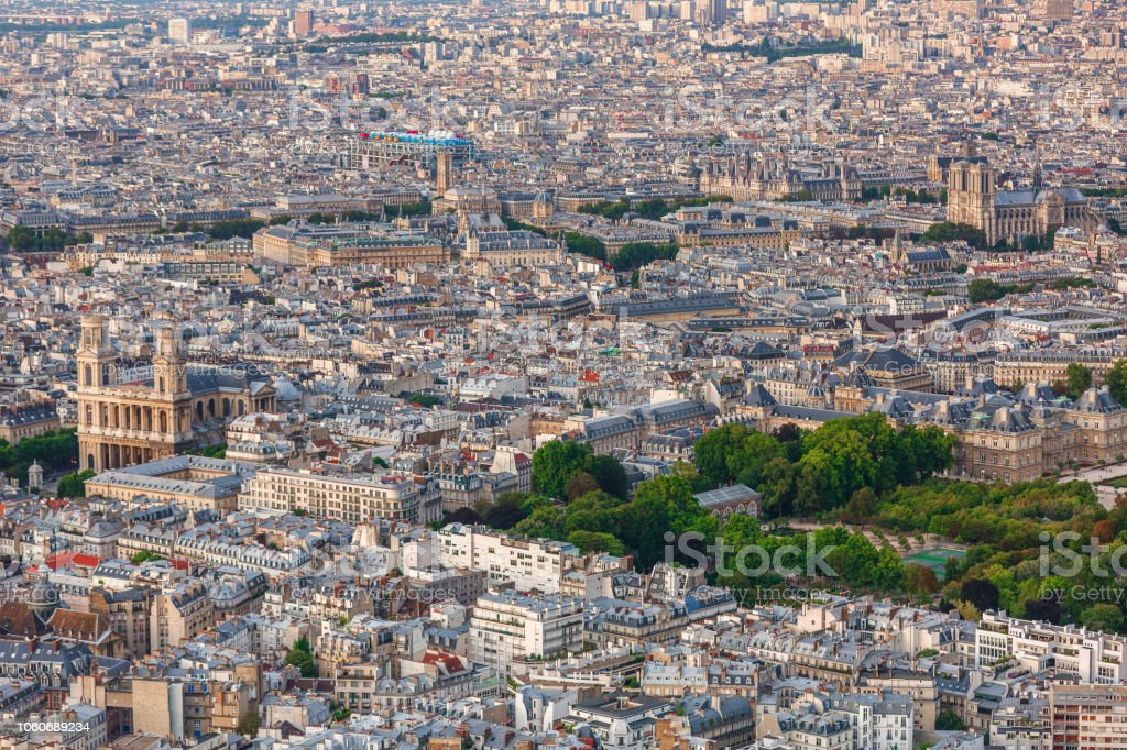 Paris view with Notre Dame stock photo