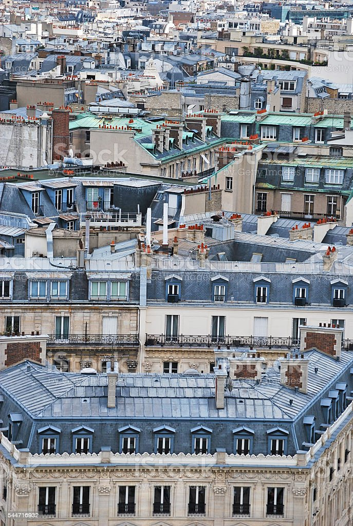 Paris viewed from the Arc du Triomph stock photo