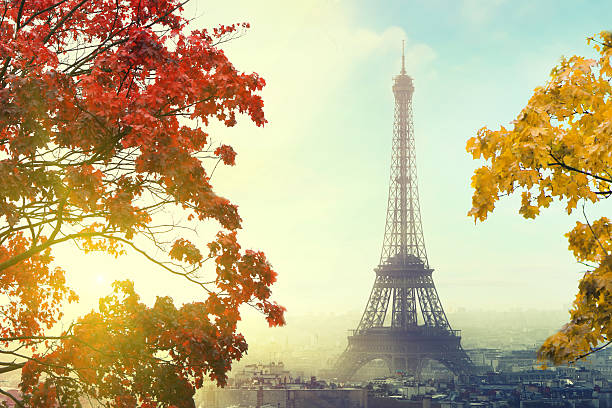 Paris with Eiffel tower in autumn time stock photo