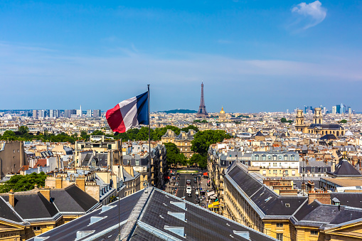 Paris with French flag