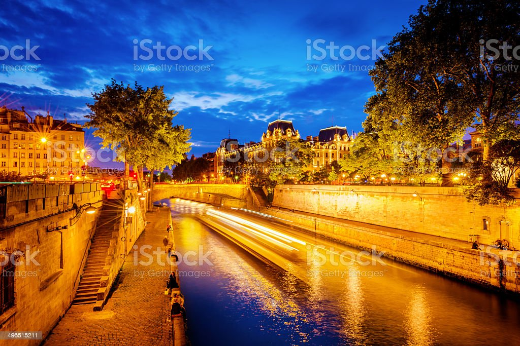 Paris with Seine River at night royalty-free stock photo