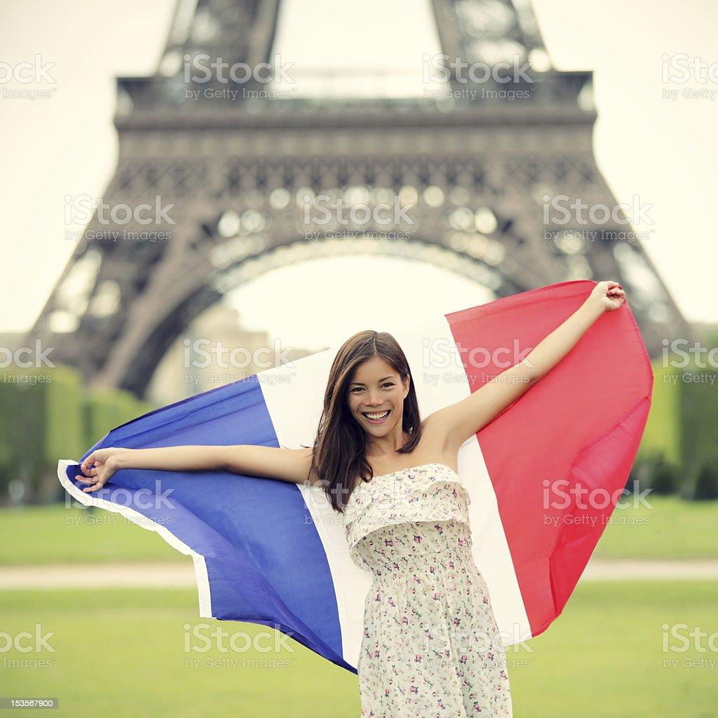 Paris woman French flag royalty-free stock photo