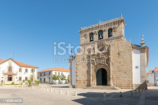 Parish church in the main square of the town of Vila Nova de Foz Coa, Portugal