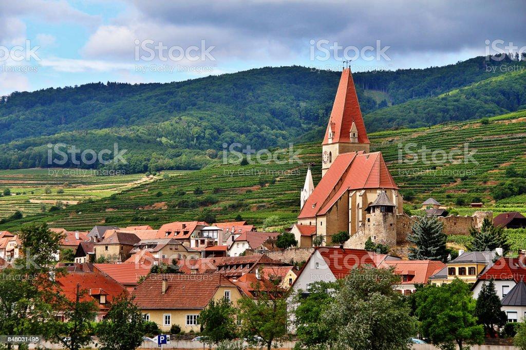 Parish church of Weissenkirchen in der Wachau, a town in the district of Krems-Land in the Austrian state of Lower Austria, Wachau Valley, Austria (Osterreich) stock photo