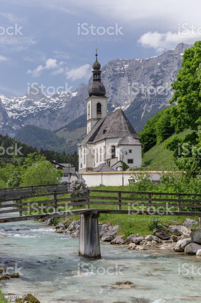 Parish Church Saint Sebastian Ramsau Germany, Ba stock photo