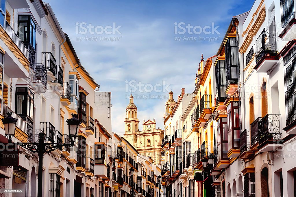 Parish of Our Lady of Incarnation in Olvera. Spain stock photo