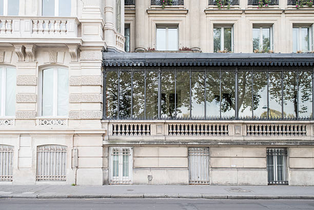 Parisian apartments with trees reflected stock photo