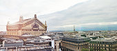 Vintage toned panoramic image of a traditional Parisian old buildings under the cloudy sky with famous Palais Garnier building in the center. It is a 1,979-seat opera house, which was built from 1861 to 1875 for the Paris Opera.